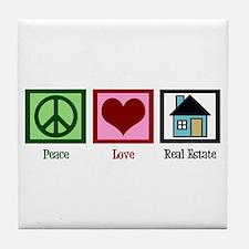 Peace Love Real Estate Tile Coaster