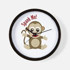 Monkey in banana tree wall Wall Clock