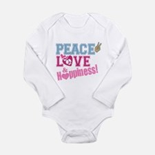 Peace Love and Happiness Long Sleeve Infant Bodysu