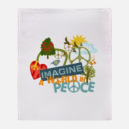 Rainbow Peace Abtract Art Throw Blanket