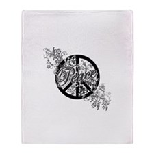 Peace Sign Filigree Art Throw Blanket