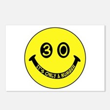 30th birthday smiley face Postcards (Package of 8)