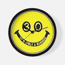 30th birthday smiley face Wall Clock