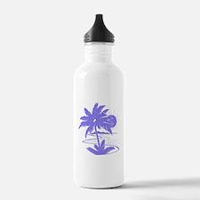 Violet Palm Beach Silhouette Water Bottle