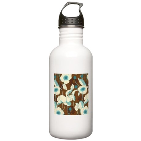 Retro Brown Aqua Vintage Flor Stainless Water Bott