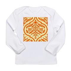 Vintage Orange Damask Retro Long Sleeve Infant T-S
