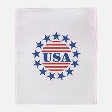 USA Fourth of July Throw Blanket