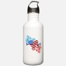 July 4th Heart Scroll Water Bottle