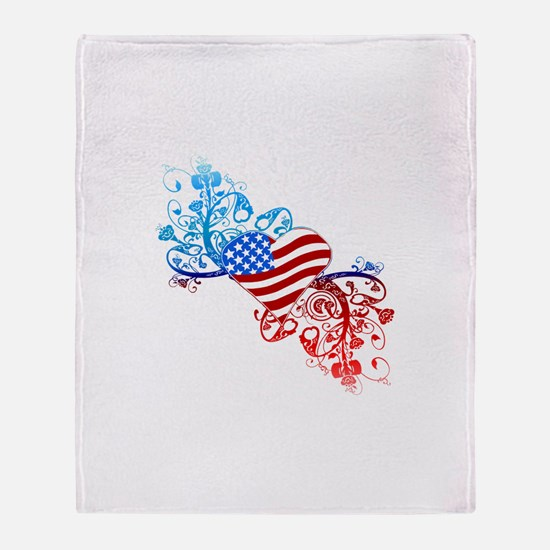 Independence Day Heart Scroll Throw Blanket
