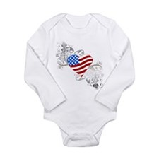 Independence Day Flag Heart Long Sleeve Infant Bod