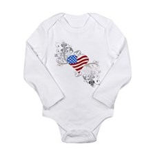Independence Day Heart Long Sleeve Infant Bodysuit