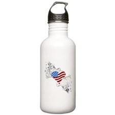 Independence Day Heart Water Bottle