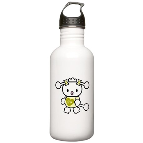 I Love You Poodle Yellow Stainless Water Bottle 1.