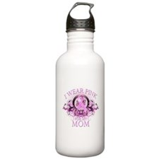 I Wear Pink for my Mom (flora Water Bottle