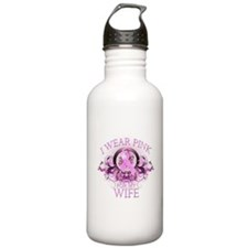 I Wear Pink for my Wife (flor Water Bottle