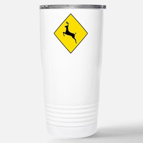 Deer Crossing Sign Stainless Steel Travel Mug