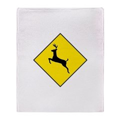 Deer Crossing Sign Throw Blanket