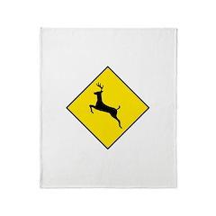 Deer Crossing Sign Throw Blanket