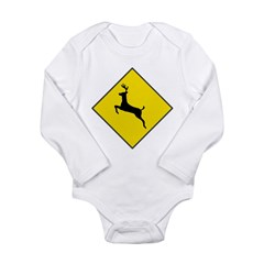 Deer Crossing Sign Long Sleeve Infant Bodysuit