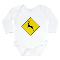 Deer Crossing Sign Long Sleeve Infant Bodysuit