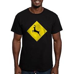 Deer Crossing Sign Men's Fitted T-Shirt (dark)
