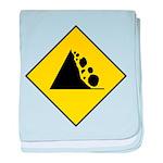 Fallign Rocks Sign baby blanket