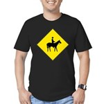 Horse Crossing Sign Men's Fitted T-Shirt (dark)