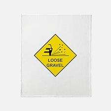 Yellow Loose Gravel Sign - Throw Blanket