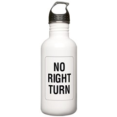 No Right Turn Sign Water Bottle