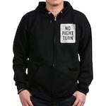 No Right Turn Sign Zip Hoodie (dark)