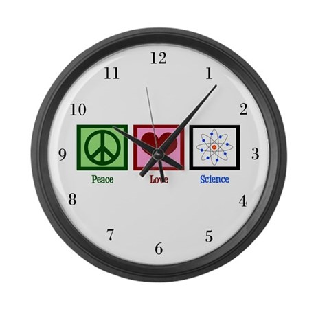 Peace Love Science Large Wall Clock