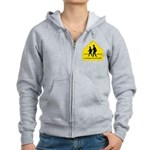 School Crossing Sign Women's Zip Hoodie