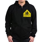 School Crossing Sign Zip Hoodie (dark)