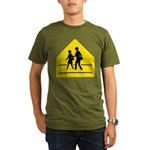 School Crossing Sign Organic Men's T-Shirt (dark)