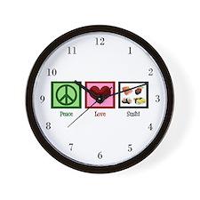 Peace Love Sushi Wall Clock