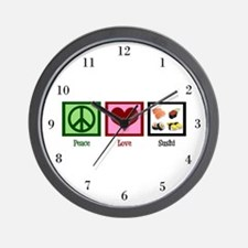 Peace Love Sushi Wall Clock