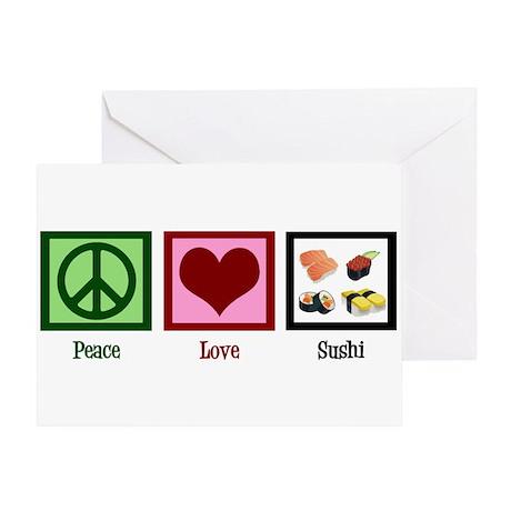 Peace Love Sushi Greeting Card