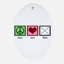 Peace Love Twirl Ornament (Oval)