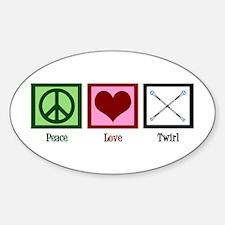 Peace Love Twirl Sticker (Oval)