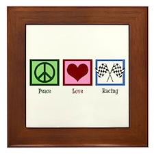 Peace Love Auto Racing Framed Tile