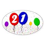 21st Birthday Sticker (Oval 10 pk)