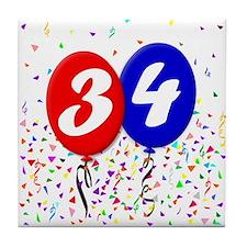 34th Birthday Tile Coaster