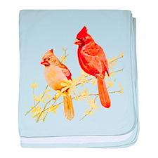 Red Cardinal Bird baby blanket