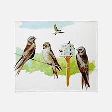 Purple Martin Bird Throw Blanket