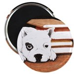 Best Friend and Books Round Magnet