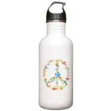 Abstract Art Peace Sign Water Bottle