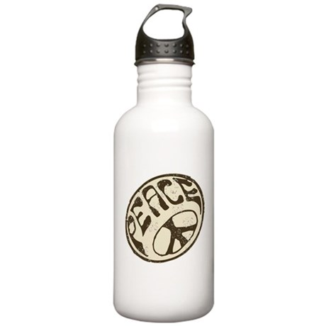 Retro Vintage Peace Sign Stainless Water Bottle 1.