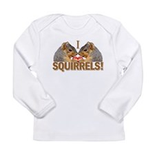 I Heart / Love Squirrels! Long Sleeve Infant T-Shi