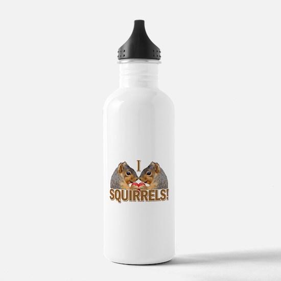 I Heart / Love Squirrels! Water Bottle