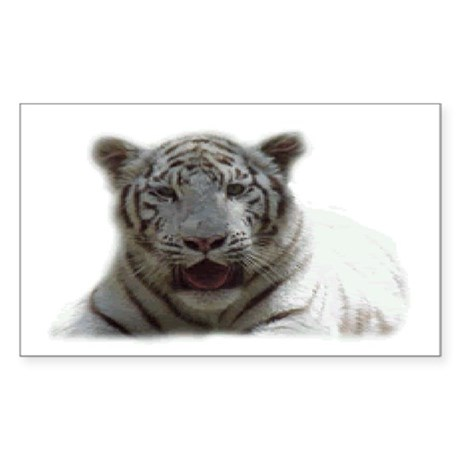 White Tiger Rectangle Sticker